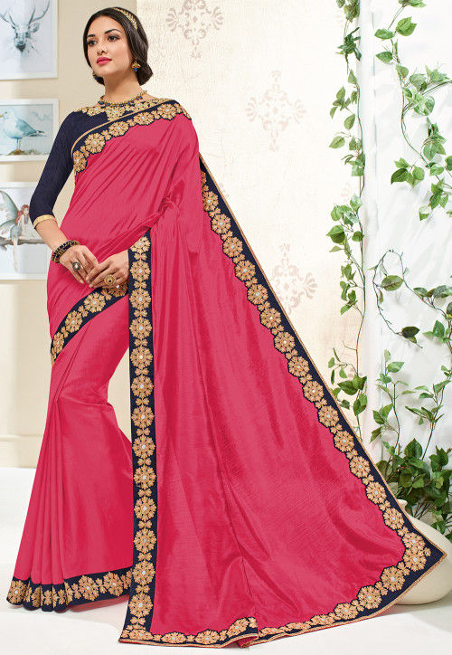Embroidered Border Art Silk Saree in Coral Pink