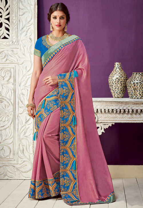 Embroidered Border Art Silk Saree in Dusty Pink