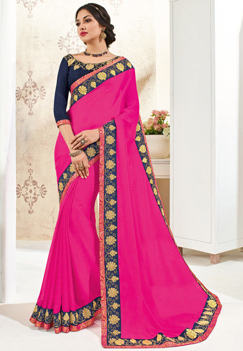 Embroidered Border Chiffon Saree in Fuchsia