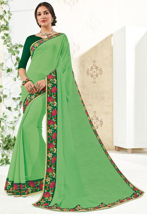 Embroidered Border Chiffon Saree in Light Green