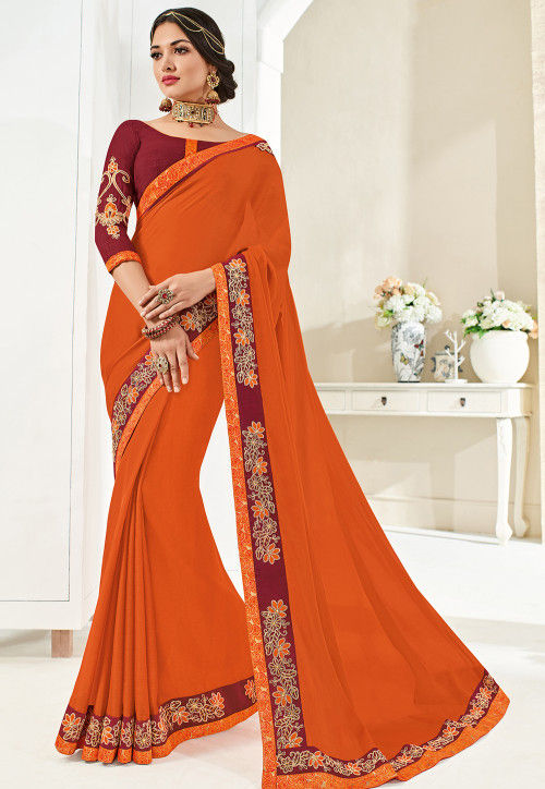 Embroidered Border Chiffon Saree in Orange