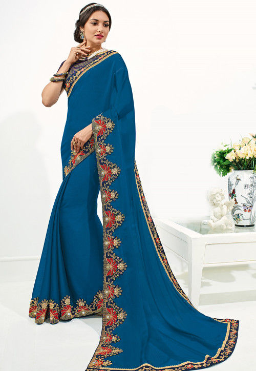 Embroidered Border Chiffon Saree in Teal Blue
