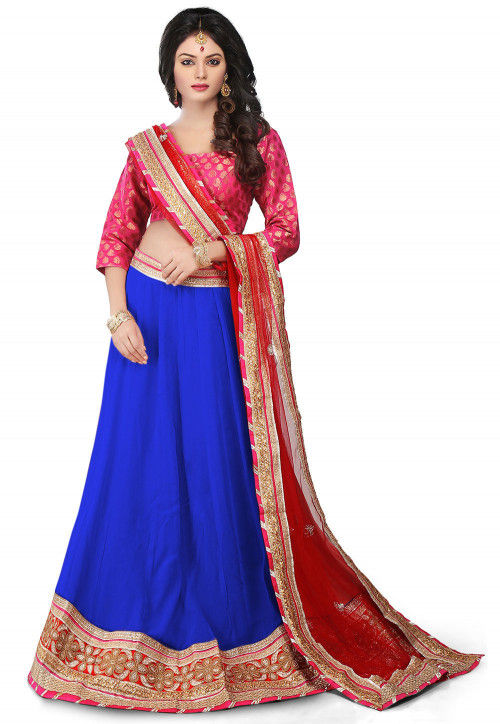 Embroidered Border Georgette Lehenga in Royal Blue