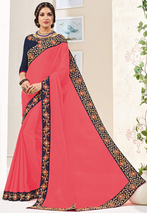 Embroidered Border Georgette Saree in Coral Pink