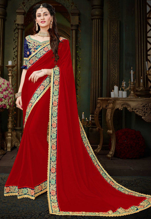 Embroidered Border Georgette Saree in Red