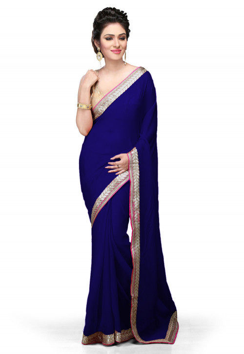 Embroidered Border Georgette Saree in Royal Blue