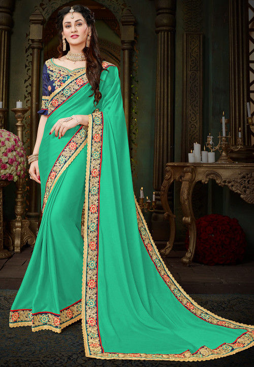 Embroidered Border Georgette Saree in Teal Green