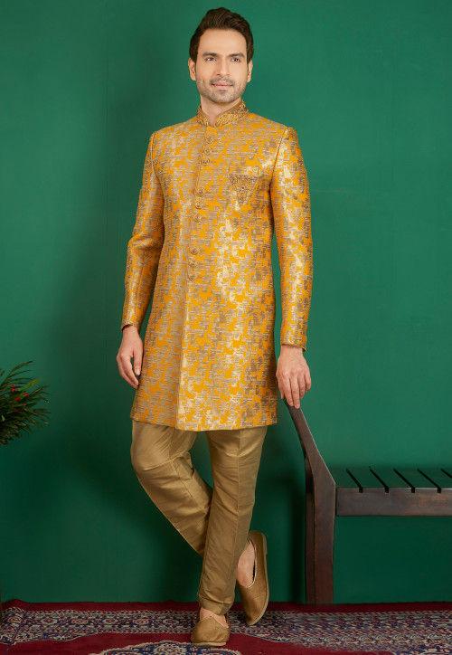 Embroidered Brocade Sherwani in Mustard and Golden