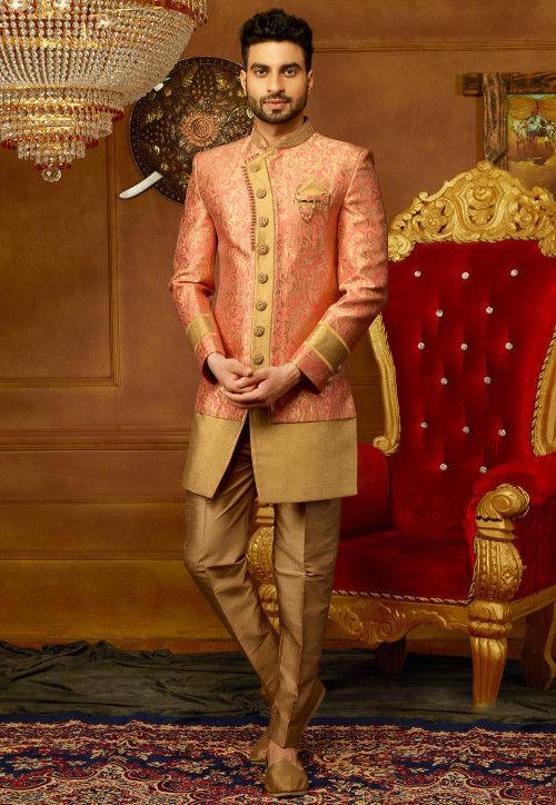 Embroidered Brocade Sherwani Set in Dark Peach and Golden