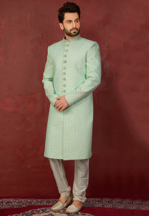 Embroidered Brocade Silk Sherwani with Churidar in Pastel Green