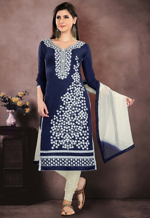 Embroidered Chanderi Cotton Straight Suit in Navy Blue