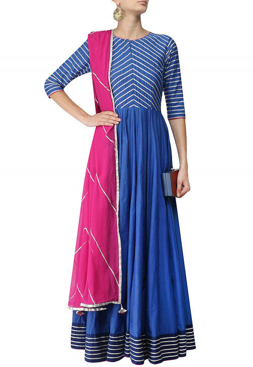Embroidered Chanderi Silk Abaya Style Suit in Blue