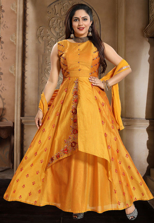 Embroidered Chanderi Silk Abaya Style Suit in Yellow