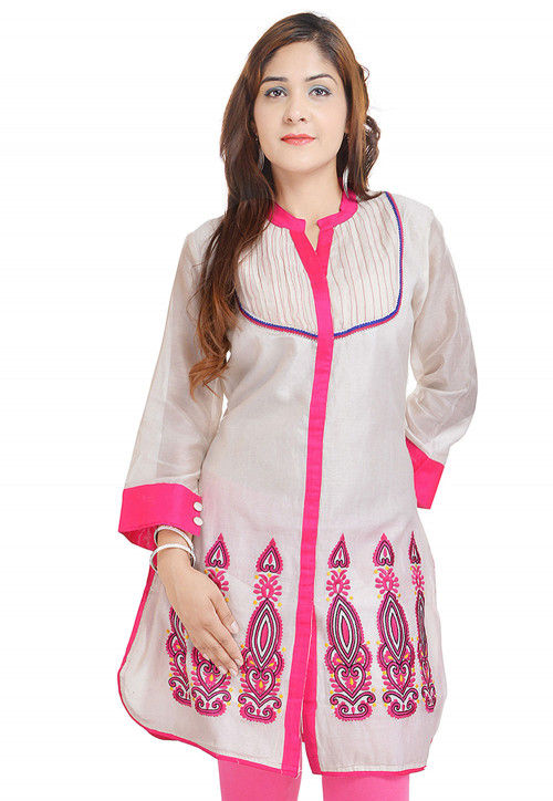 Embroidered Chanderi Silk Kurti in Off White