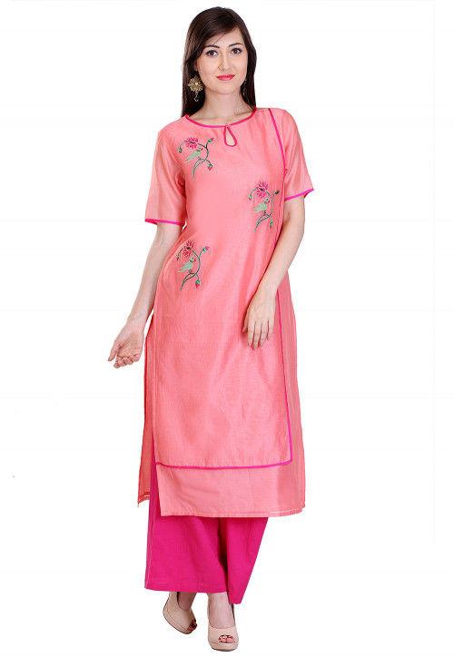 Embroidered Chanderi Silk Long Kurta in Peach