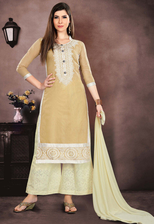 Embroidered Chanderi Silk Pakistani Suit in Beige