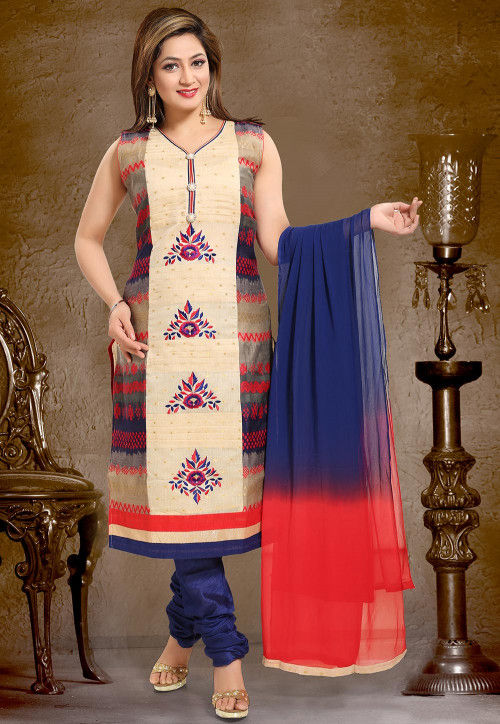 Embroidered Chanderi Silk Straight Suit in Beige and Blue