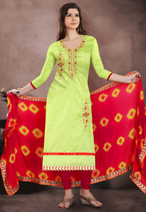 Embroidered Chanderi Silk Straight Suit in Light Green
