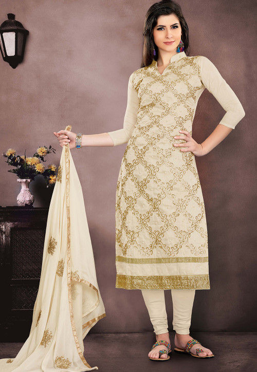 Embroidered Chanderi Silk Straight Suit in Off White