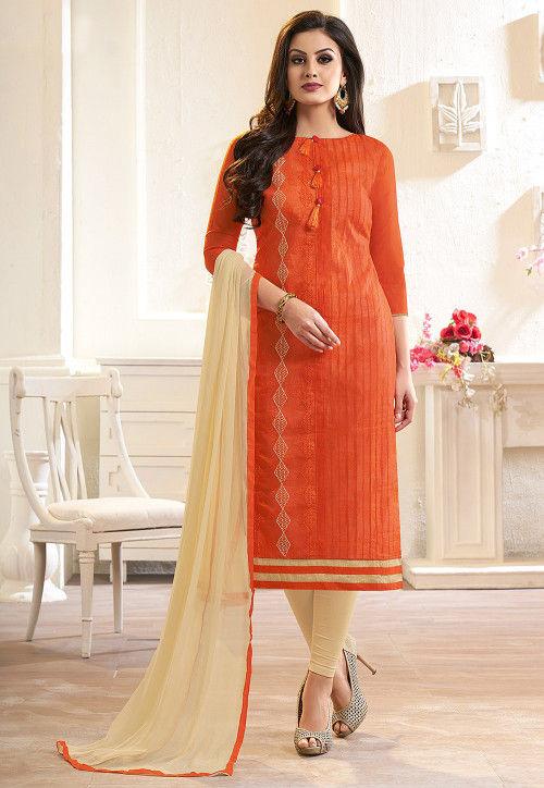 Embroidered Chanderi Silk Straight Suit in Orange