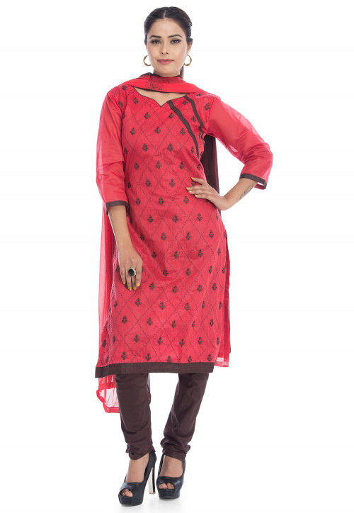 Embroidered Chanderi Silk Straight Suit in Red