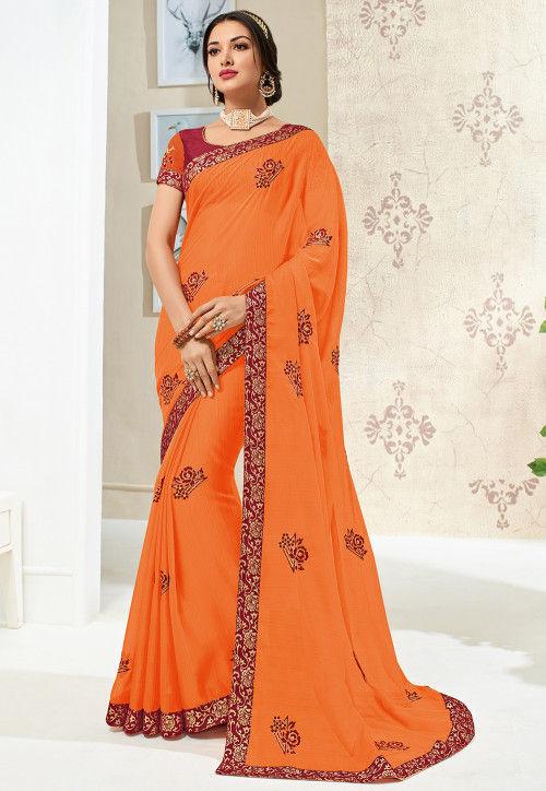 Embroidered Chiffon Saree in Orange