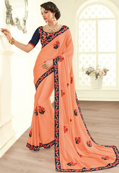 Embroidered Chiffon Saree in Peach