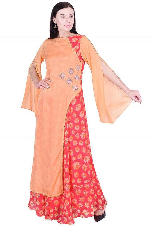 Embroidered Chinon Crepe Abaya Style Kurta in Orange and Pink