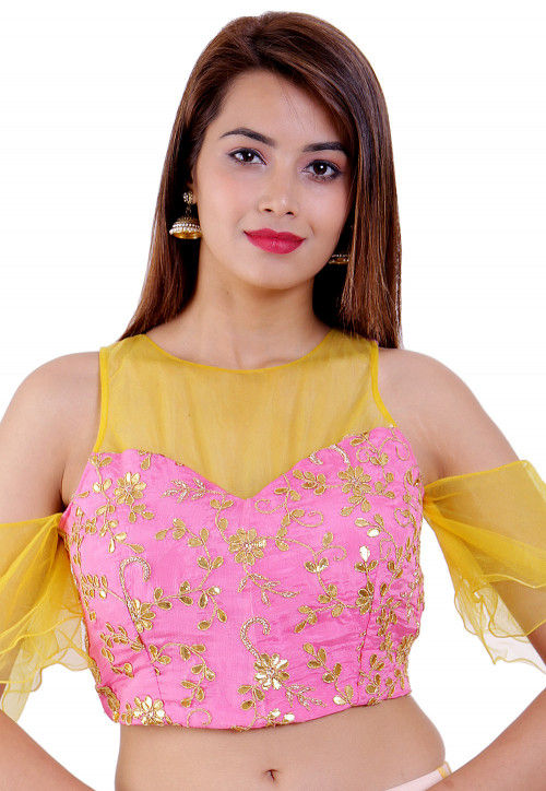 Embroidered Chinon Crepe Padded Blouse in Pink and Yellow