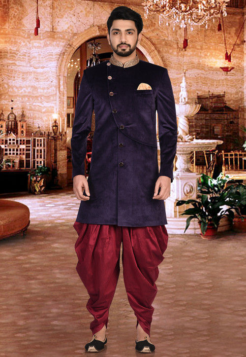 Embroidered Collar Velvet Dhoti Sherwani in Violet and Maroon
