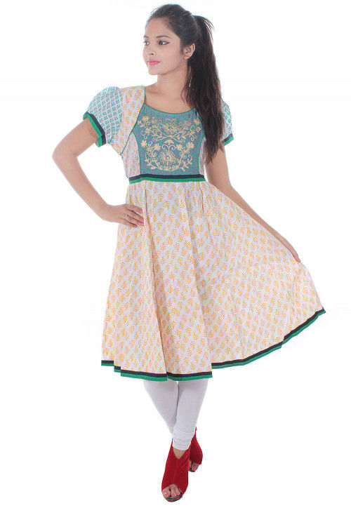 Embroidered Cotton Anarkali Kurta in Off White