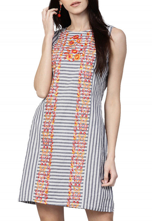 Embroidered Cotton Dress in Grey