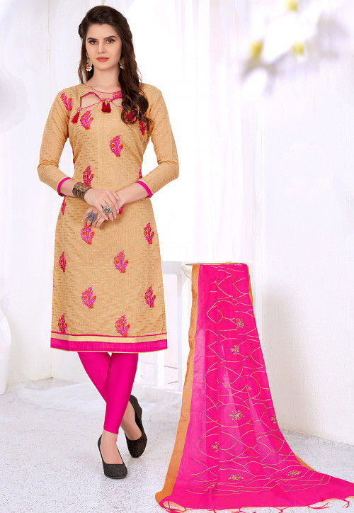 Embroidered Cotton Jacquard Straight Suit in Beige