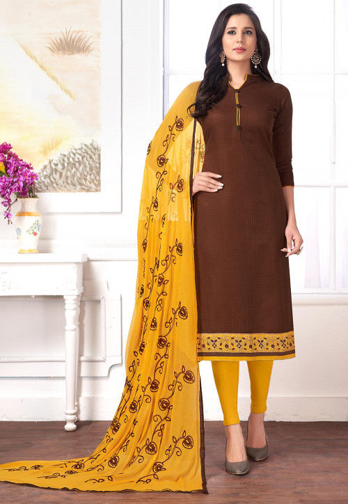 Embroidered Cotton Jacquard Straight Suit in Brown