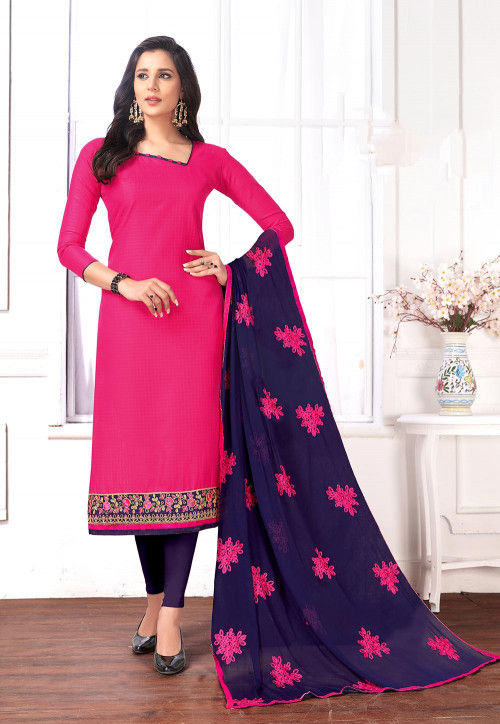 Embroidered Cotton Jacquard Straight Suit in Fuchsia