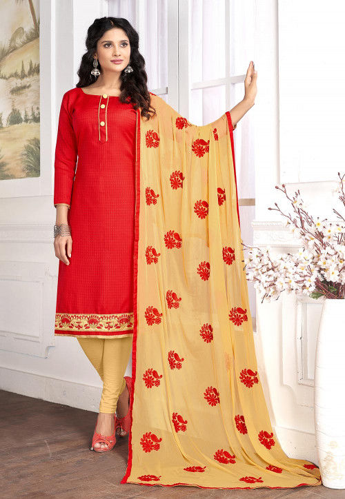 Embroidered Cotton Jacquard Straight Suit in Red