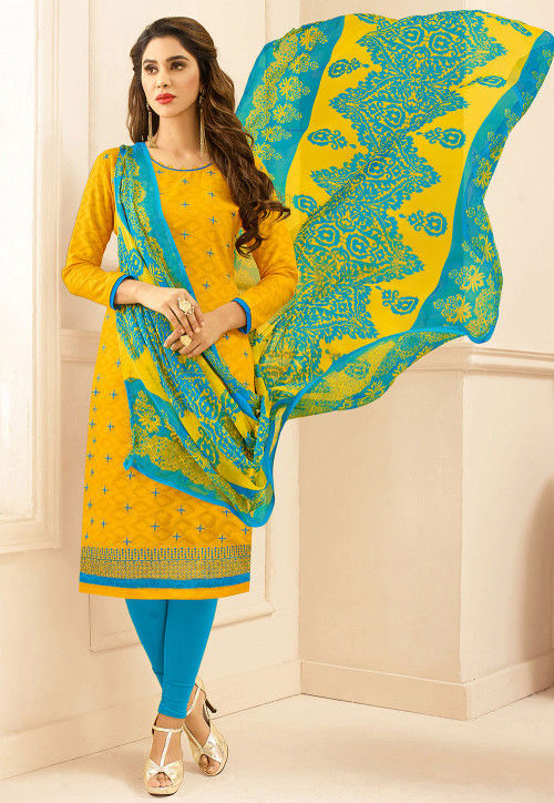 Embroidered Cotton Jacquard Straight Suit in Yellow