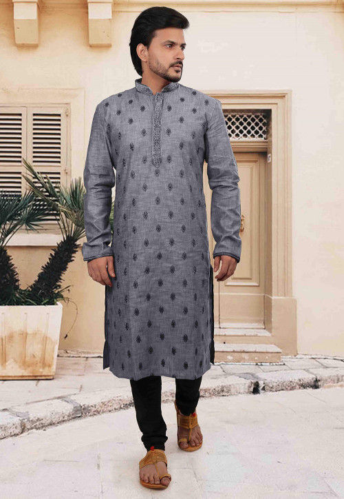 Embroidered Cotton Kurta Set in Grey