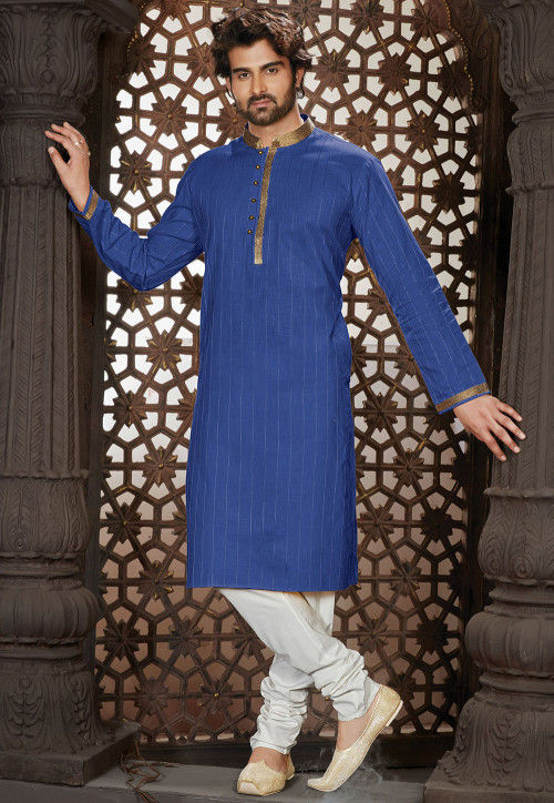 Embroidered Cotton Kurta Set in Royal Blue