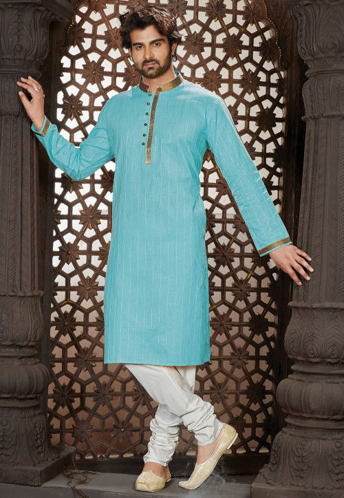 Embroidered Cotton Kurta Set in Sky Blue
