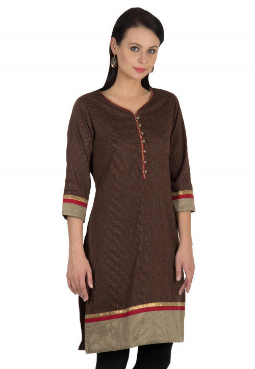 Embroidered Cotton Kurti in Brown