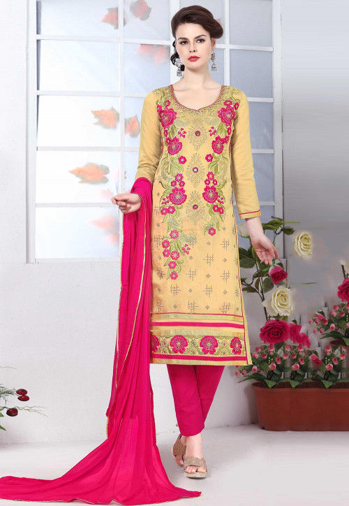 Embroidered Cotton Pakistani Suit in Beige