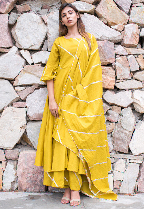 Embroidered Cotton Pakistani Suit in Yellow