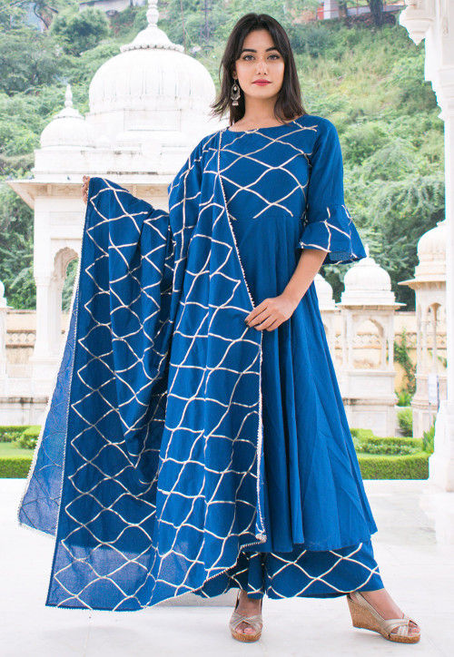 Embroidered Cotton Pakistani Suit in Royal Blue