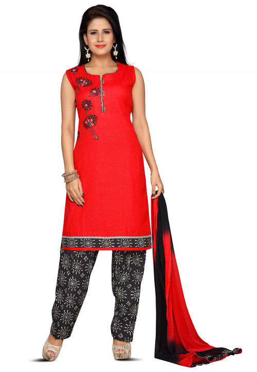 Embroidered Cotton Punjabi Suit in Red