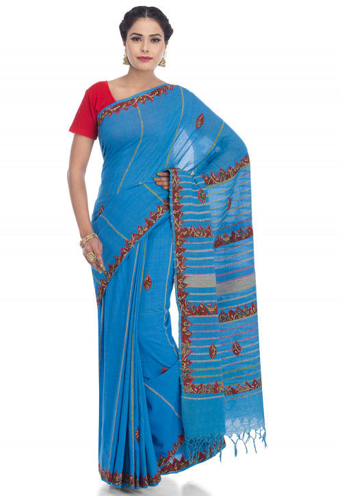 Embroidered Cotton Saree in Blue