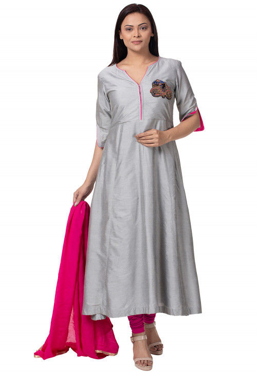 Embroidered Cotton Silk A Line Suit in Grey