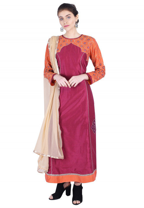 Embroidered Cotton Silk A Line Suit in Magenta