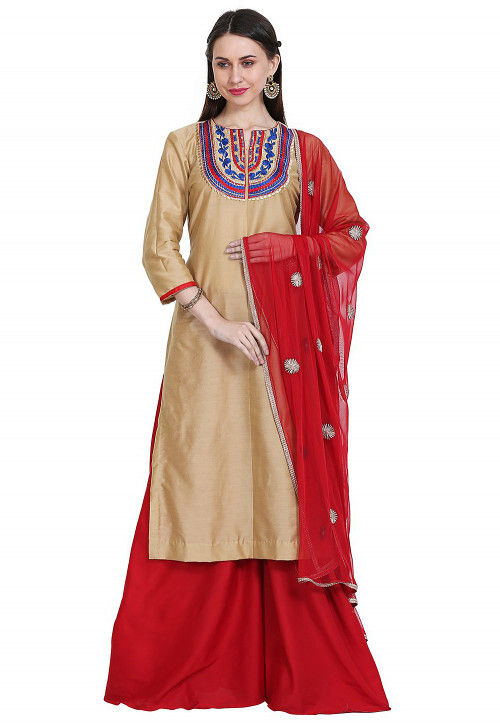 Embroidered Cotton Silk Pakistani Suit in Beige