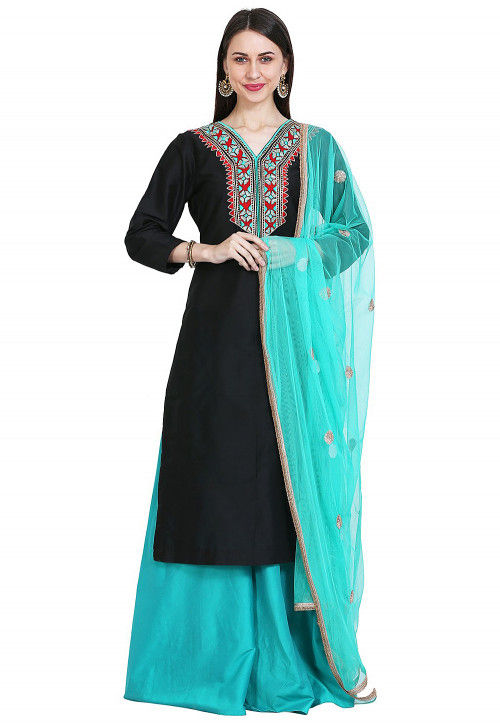 Embroidered Cotton Silk Pakistani Suit in Black